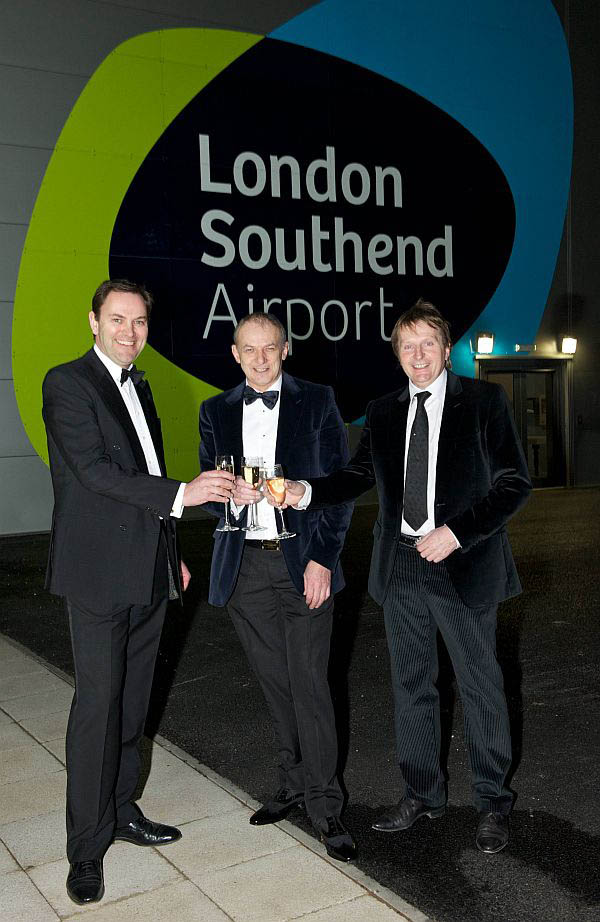 Alastair Welch, (MD London Southend Airport), Andrew Tinkler, (CEO Stobart Group) & William Stobart (COO, Stobart Group)