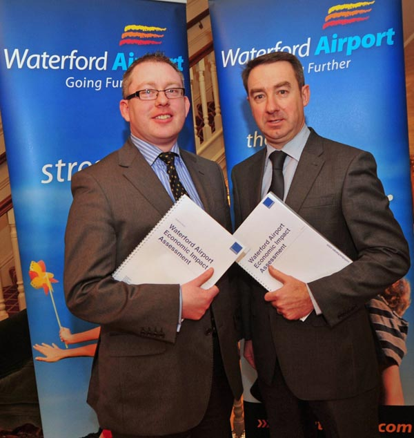 Launching a major economic report on Waterford   Airport are Airport CEO Graham Doyle and General Manager Aidan power; the report   found that 85% of south east businesses view direct air access to the South East   as important to their operations – Photograph John Power