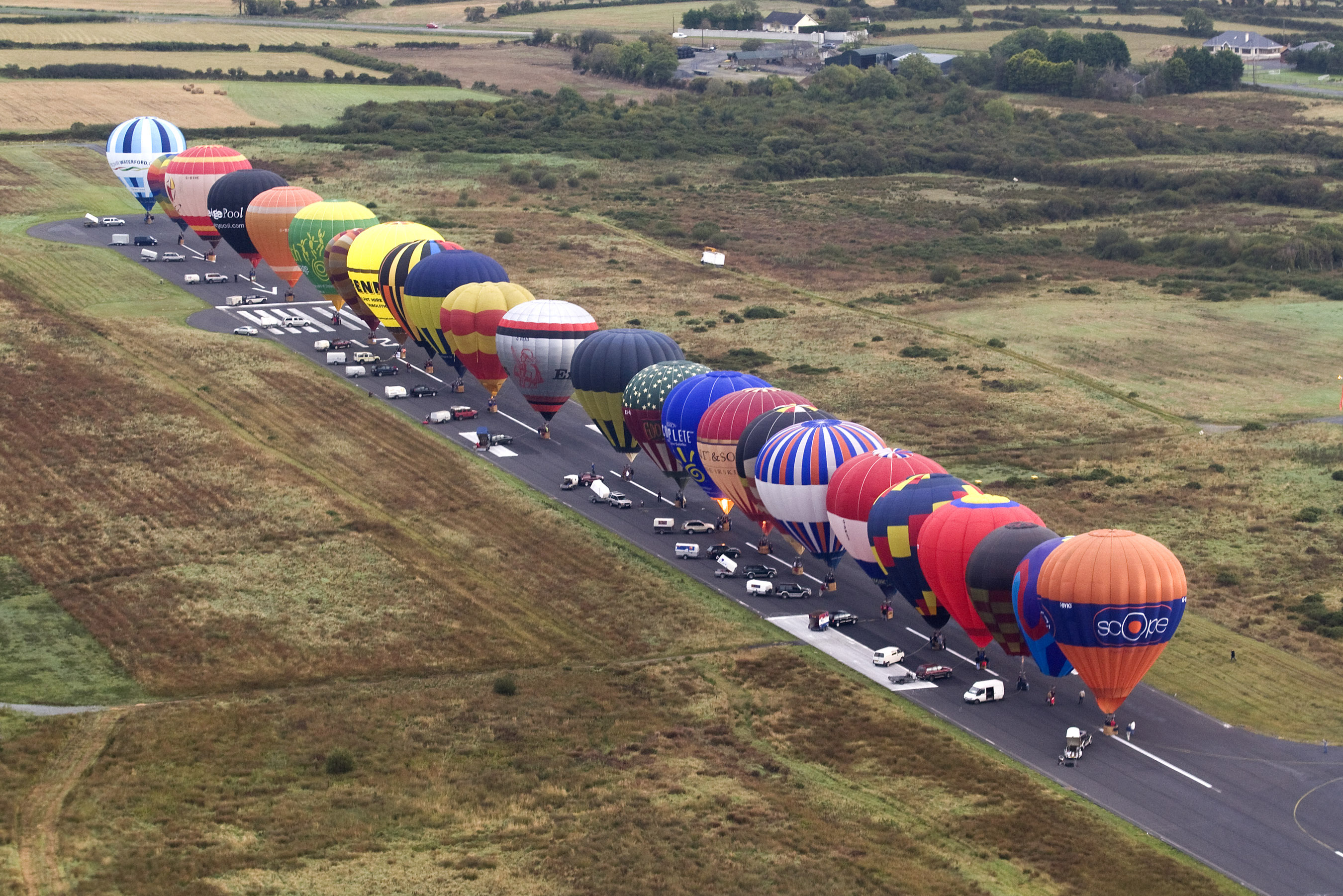 Pictured is record In-Line launch of Largest number of hot air balloons in a single line at Waterford Airport in 2009