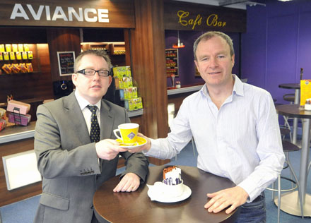 Graham Doyle CEO, Waterford Airport and Restaurateur Tony McMahon at the newly opened 'Aviance' Cafe Bar at the Departures Lounge at Waterford Airport- Photograph John Power