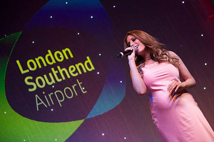 Stacey Solomon on stage at London Southend Airport