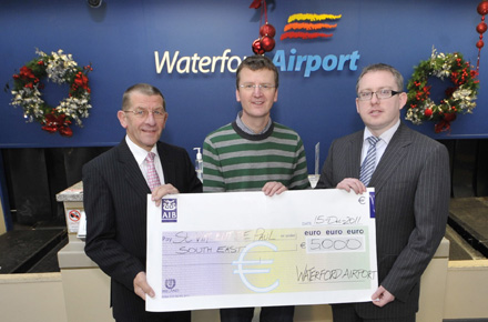 Pictured on December 15 2011, the day on which Waterford Airport celebrated its 30th Birthday are Michael Flynn Waterford Airport, David O Neill, St. Vincent De Paul South East Regional Administrator and Graham Doyle Waterford Airport - Waterford Airport donated €5000 to the St Vincent De Paul South East as part of their 30th Birthday celebrations